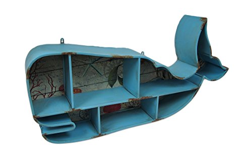 Blue Whale Shaped Distressed Metal Cubby Wall Shelf by Zeckos