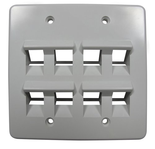 (Allen Tel Products AT45D-8-15 Flame Retardant Plastic Double Gang, 8 Ports Versatap 45-Degree Angled Faceplate,)