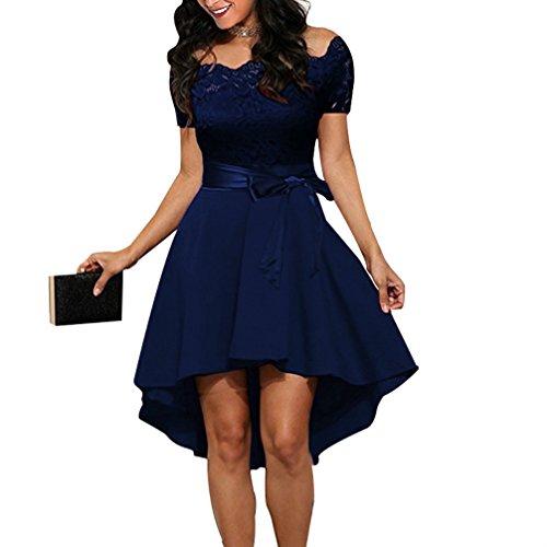 Azul con FANTIGO Mujer Dress Noche Cocktail en V Oscuro para Vestido Mangas Cuello de sin YOqfrYw