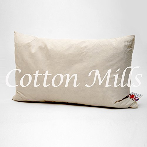 Boudoir Cushion (Cotton Mills 14 x 20inch (35cm x 50cm) Natural Duck Feather Filled Rectangle Rectangular Boudoir Cushion Inner Pad Insert with Cambric Cotton Casing Cover by Cotton Mills)