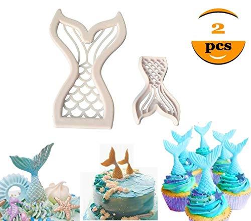 (Mermaid Tail Cookie Cutters Plastic Mermaid Cake Fondant Molud Topper Cupcake Decoration Tool- Set of)