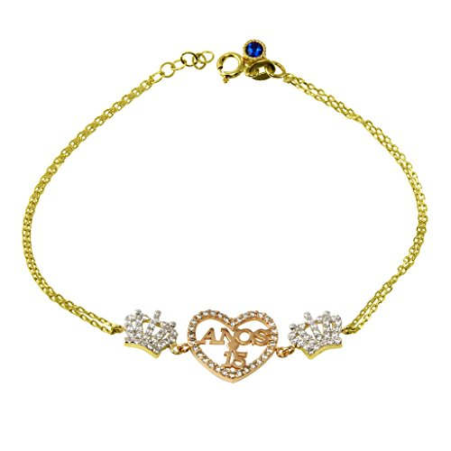 14k Gold CZ Quinceanera Sweet 15 Anos Bracelet with Heart and Crown by 15 Años by Jewelry America