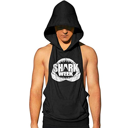 Workout Hooded Tank Tops Shark Week Jaws MenSleeveless Muscle Sleeveless Hooded Shirt with Pocket Cool and Muscle Cut (Kitty Jaws Shirt)