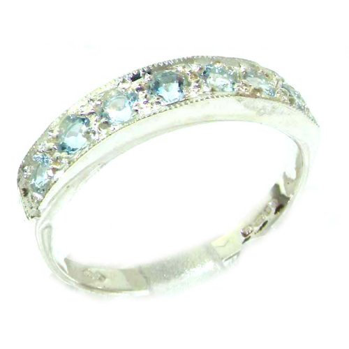 Solid 585 14K White Gold Ladies Natural Aquamarine Eternity Band Ring - Size 7 - Finger Sizes 5 to 12 Available