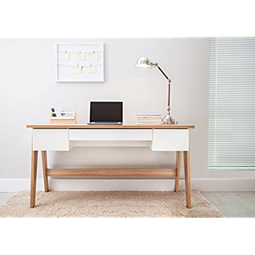 magtec trendline collection desk with 3 drawers hanover and off white
