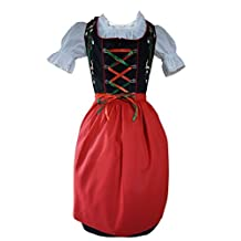 Dirndl World Womens Di23, 3 Piece Mini Dirndl Dress, Blouse, Apron, Sizes 4-22