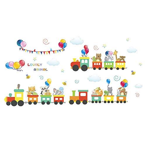 - Runtoo Cute Animals Train Wall Decal Elephant Giraffe Kids Wall Sticker Home Decoration Bedroom Nursery Wall Decor