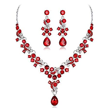 Windoson Womens Deals Necklace+Earrings Jewelry Chain Sets Wedding Gift (Red)