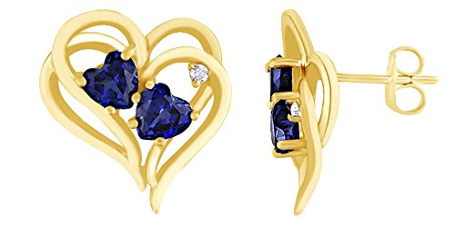 - Simulated Blue Sapphire With Natural Diamond Heart Stud Earrings in14K Yellow Gold Over Sterling Silver