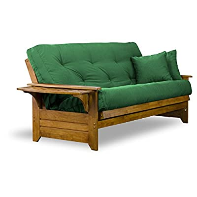 "Brentwood Tray Arm Futon Sofabed Set - Futon Frame, 8"" Thick Futon Mattress, Rich Heritage Finish"