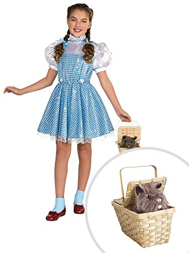 Wizard of Oz Sequin Dorothy Costume Kit Kids Medium With Toto In Basket Deluxe