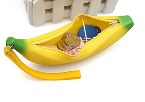 JD Million shop 1 X Kawaii Unisex Men Women Women Silicone Pants Silicone Portable Banana Coin Pencil Case Purse Bag Wallet Wallet Pouch Keyring