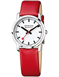 Women's 'SBB' Swiss Quartz Stainless Steel and Leather Casual Watch, Color Red (Model: A400.30351.11SBC)