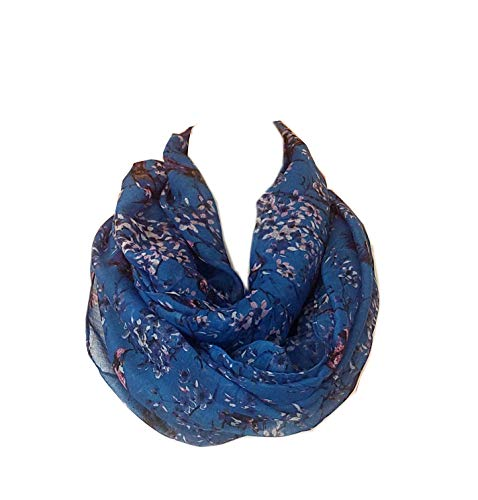 SCARF_TRADINGINC Floral Butterfly Bird Dragonfly Light Weight X-large Infinity Scarf (Bird & Floral Blue) (Mens Floral Scarf)