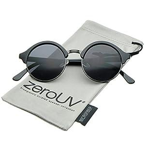 zeroUV - Classic Semi-Rimless Metal Nose Bridge P3 Round Sunglasses 47mm (Black-Gunmetal / Smoke)