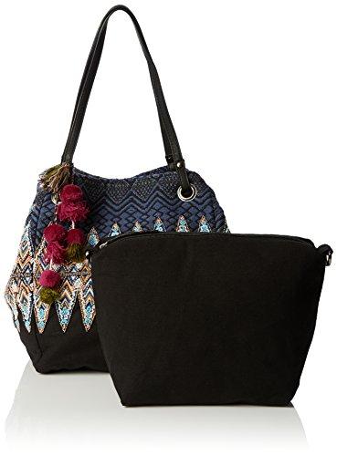 Desigual Capazo Uma - Bolso del comprador, 100 % algodón, color multicolor, 26 x 21 x 29 cm