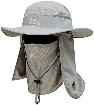 UNIQME Sun Cap Fishing Hat for Men Women, UPF 50 Protection Quick-Drying with Removable Neck Flap Face Cover Mask, Sun Hat for Gardening, Hiking, Camping, Boating, Outdoor Sports