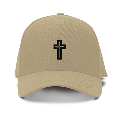 Chaplain Cross Military Embroidery Adjustable Structured Baseball Hat Khaki (Structured Baseball Adjustable Hat)