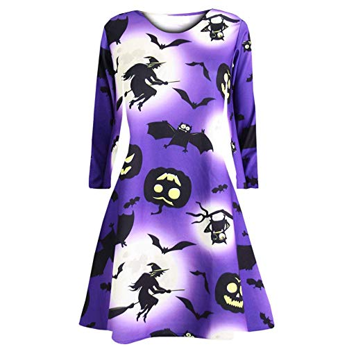 Hot Sale,KIKOY Women Long Sleeve Pumpkins Print Halloween Evening Prom Costume Swing -