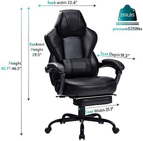 HEALGEN Reclining Gaming Chair with Large Lumbar Support Cushion Racing Style Video Game PC Computer Gamer Gaming Chairs Ergonomic Office High Back Chair with Headrest(HG085-BLK) 4121CRmbnTL