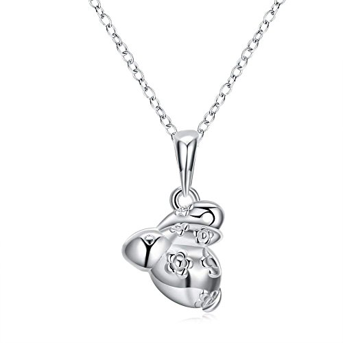 Zhiwen 925 Sterling Silver Chinese Zodiac Amulet Pendant Necklace Various Animals, Men and Women Charm Necklace Gifts (Rabbit)