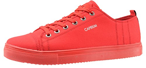 CAPRIUM Sneaker Low-Top Schuhe Herren Turnschuhe Freizeit Stoffschuhe Sportschuhe Rot