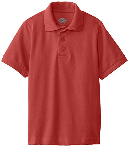 Solid Girls Polos Pique - Dickies Big Boys' Short Sleeve Pique Polo Shirt, English Red, Large