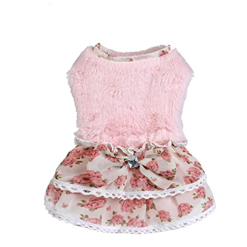 AMA(TM) Pet Dog Doggie Winter Warm Princess Floral Shirt Dress Small Puppy Bowknot Gem Sweater Coat Hoodie Clothes Costume (L, (Pink Velvet Princess Costume)
