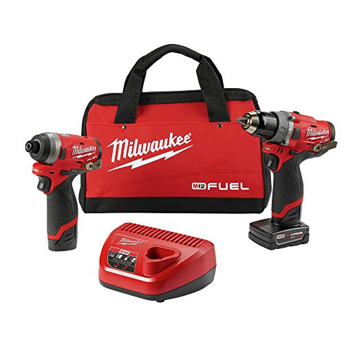 MILWAUKEE'S Electric Tools 2598-22 M12 Fuel 2 Pc Kit- 1/2″ Hammer Drill & 1/4″ Impact