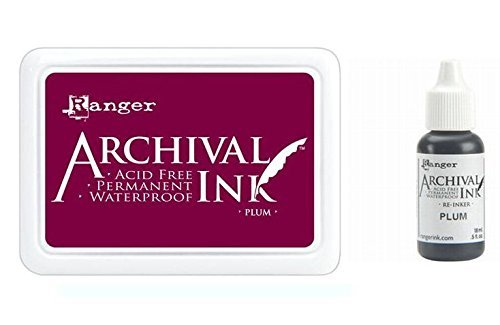(Ranger Wendy Vecchi Archival Plum Purple Permanent Dye Ink Stamp Pad & Re-Inker)