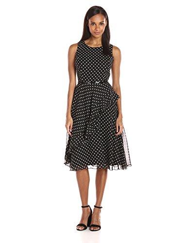 Jessica Howard Women's Dot Ruffle Dress, Black/Ivory, 12