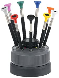 Bergeon 55-603 6899-S09 Rotating Stand with 9 Ergonomic Screwdrivers with Spare Blades Watch Repair Kit