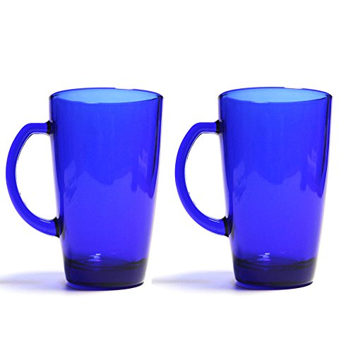 - Cobalt Blue Tall Glass Mug, 13 Ounces, Set of 2