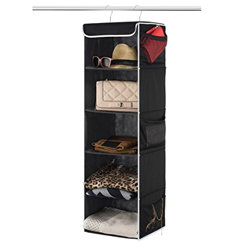 ZOBER 5-Shelf Hanging Closet Organizer - 6 Side Mesh Pockets Breathable Polypropylene Hanging Shelves - for Clothes Storage and Accessories, 12