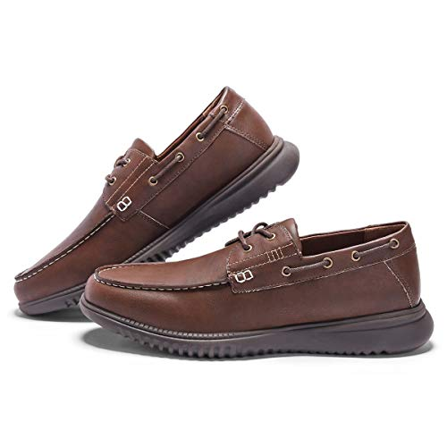 Men's Boat Shoes Slip On-Smart Casual Work Loafer Stylish Two-Eyelet Moc Toe Walking Driving Shoes Dark Brown 8