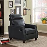 Santoro Brown Bonded Leather Recliner (Black) - EXTENDABLE HEADREST with HIGH DENSITY FOAM Wrapped in Dacron Fiber - ADJUSTS Between Upright, Footrest and Fully Reclined Positions