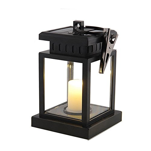 e Lantern Vintage LED Solar Powered Hanging Umbrella Light Waterproof Lighting For Garden Yard Lawn Patio Tent Pavilion Camping Outdoor Decoration, Black (Solar Candle)