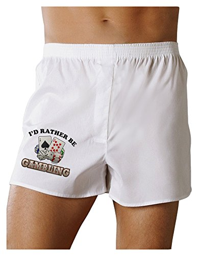 (TOOLOUD I'd Rather Be Gambling Boxers Shorts - White - Medium)