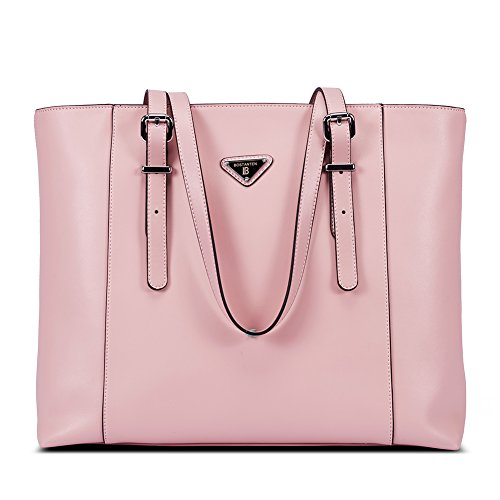 BOSTANTEN Women Briefcase Leather Laptop Tote Handbags 15.6 inch Computer Shoulder Bags Pink