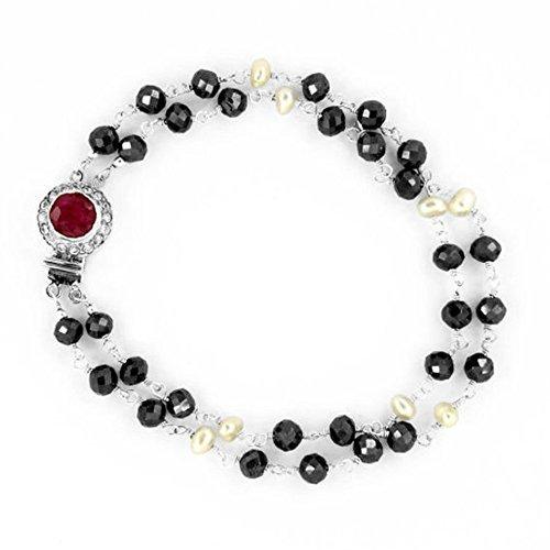 Barishh 2 Row Black Diamond and Pearl Bracelet 35 Cts. Beautiful.Certified by Barishh