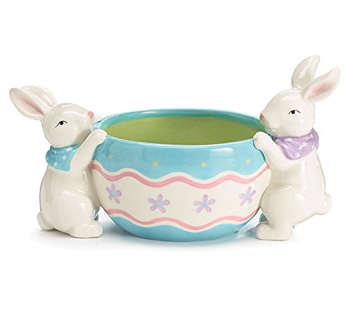 Burton Spring Easter Candy Dish with Bunnies Hang on Side...