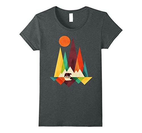 Womens Mountain Bear T Shirt Large Dark Heather