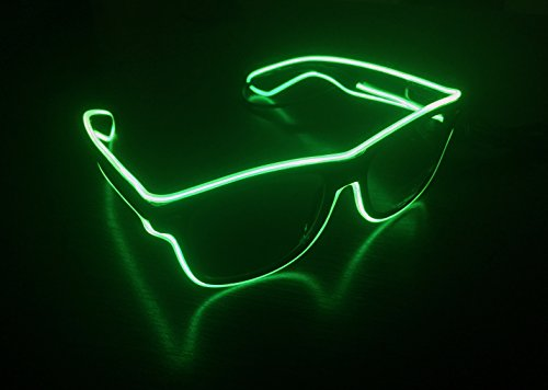 Last Minute Costumes At Home (Light-up Illuminated Neon Electroluminescent EL Wire LED Glasses Light Shutter Frame Costumes Eyeglasses (Green))