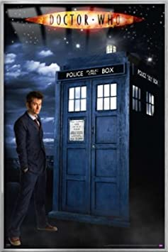 Doctor Who – Framed TV Poster Print GLOW IN THE DARK David Tennant – The 10th Doctor The Tardis Size 24 x 36