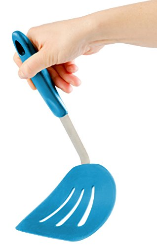StarPack Ultra Flexible Wide Silicone Pancake Turner Spatula, Bonus 101 Cooking Tips (Teal Blue)
