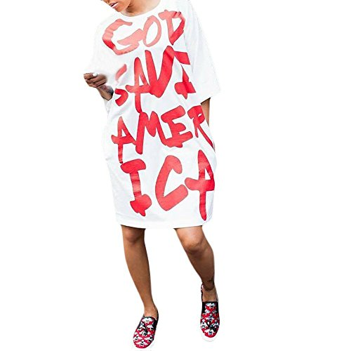 Londony Newest Arrivals Big Size Loose Fit Letter Print Tunic Tops Short Sleeve Crew Neck T Shirt Dress for Women by Londony ❤ღ♕