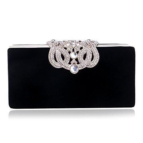 Fashion Evening Ladies Black Clutch Banquet Bag Bag Dress Crown Dinner GROSSARTIG TqFxCw7n