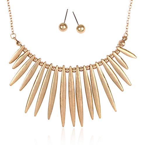 RIAH FASHION Bohemian Geometric Metallic Necklace - Boho Tribal Chain Bib Collar Choker Wavy Bar Fringe/Spike Tooth (Spike Bib - -