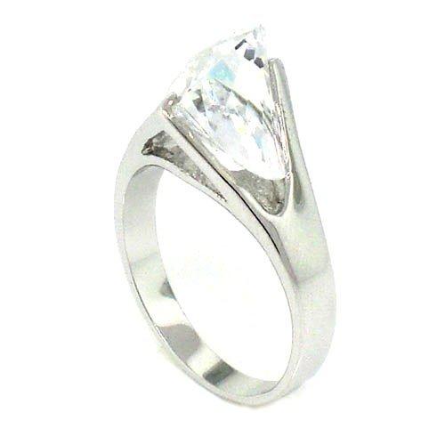 Classic Solitaire Promise Ring w/Fancy-cut White CZ Alljoy BR3020c