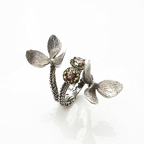 - Silver platinum tentacle flower ring